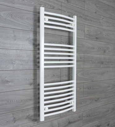1100 mm High 500 mm Wide Heated Curved Towel Rail Radiator White Central heating or Electric