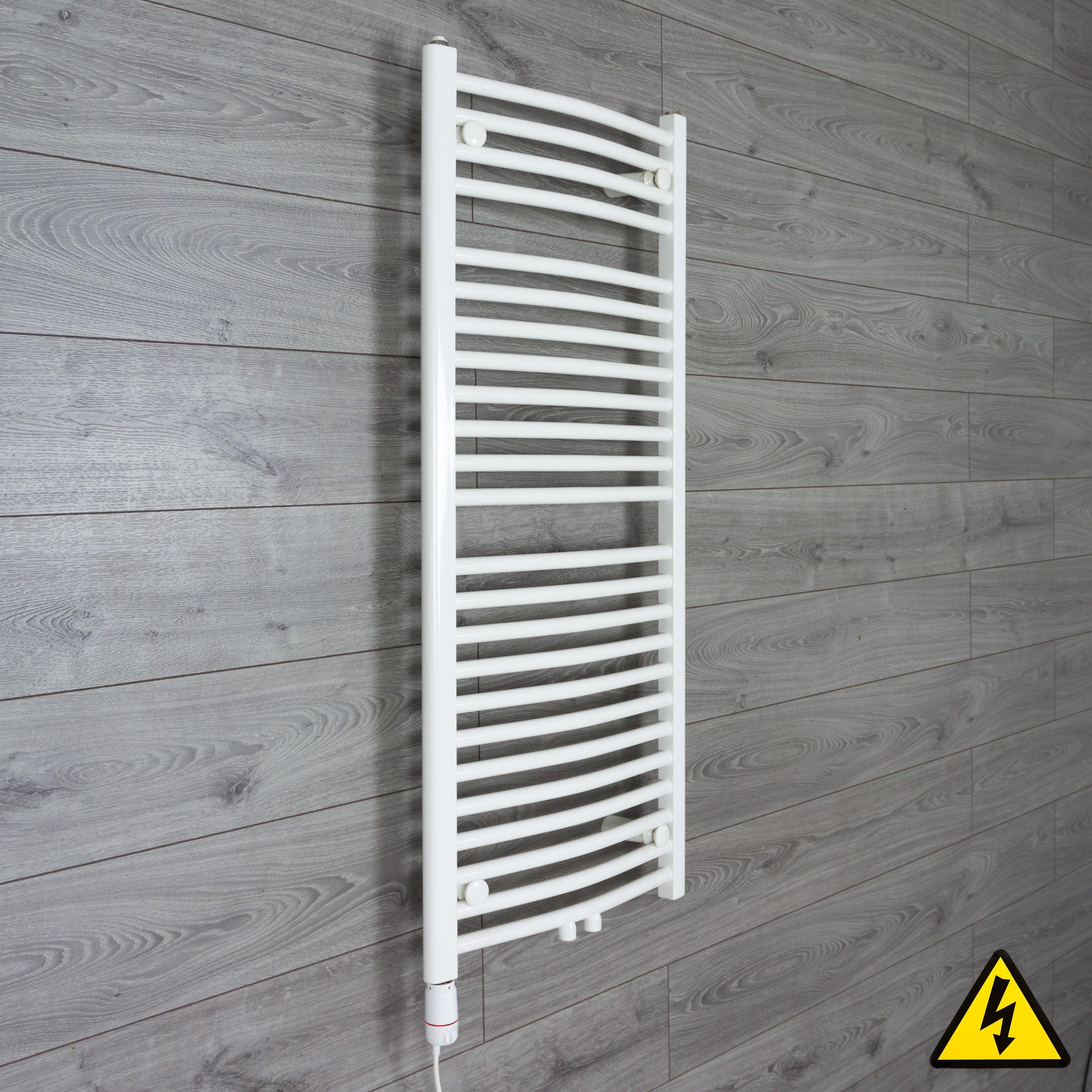1200 mm High 500 mm Wide Heated Curved Towel Rail Radiator White Dual Fuel Ready