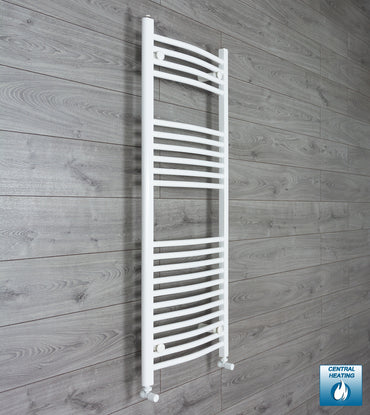 1300 mm High 500 mm Wide Heated Curved Towel Rail Radiator White Central heating or Electric