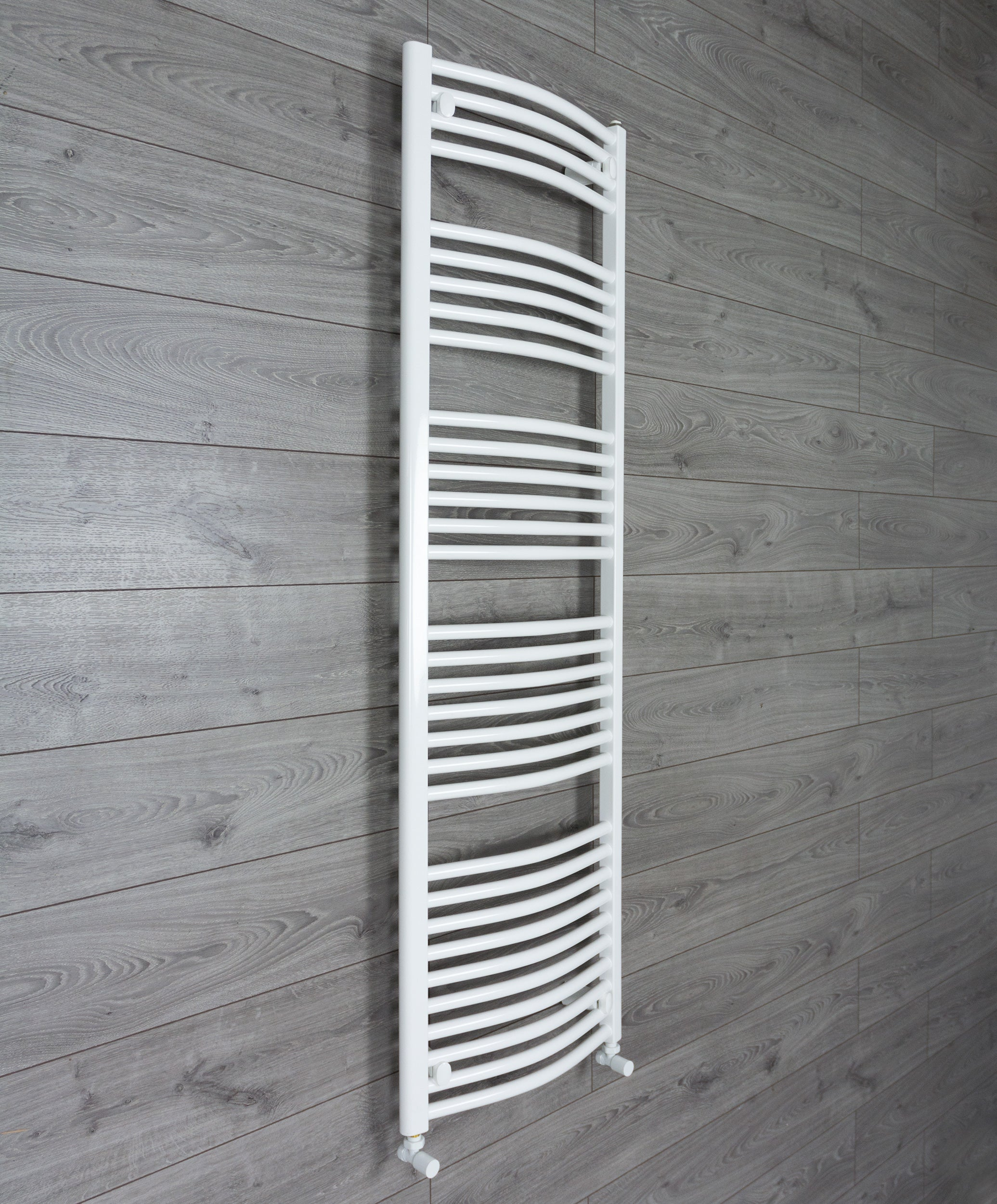 1600 mm High 500 mm Wide Heated Curved Towel Rail Radiator White Central heating or Electric angled valves