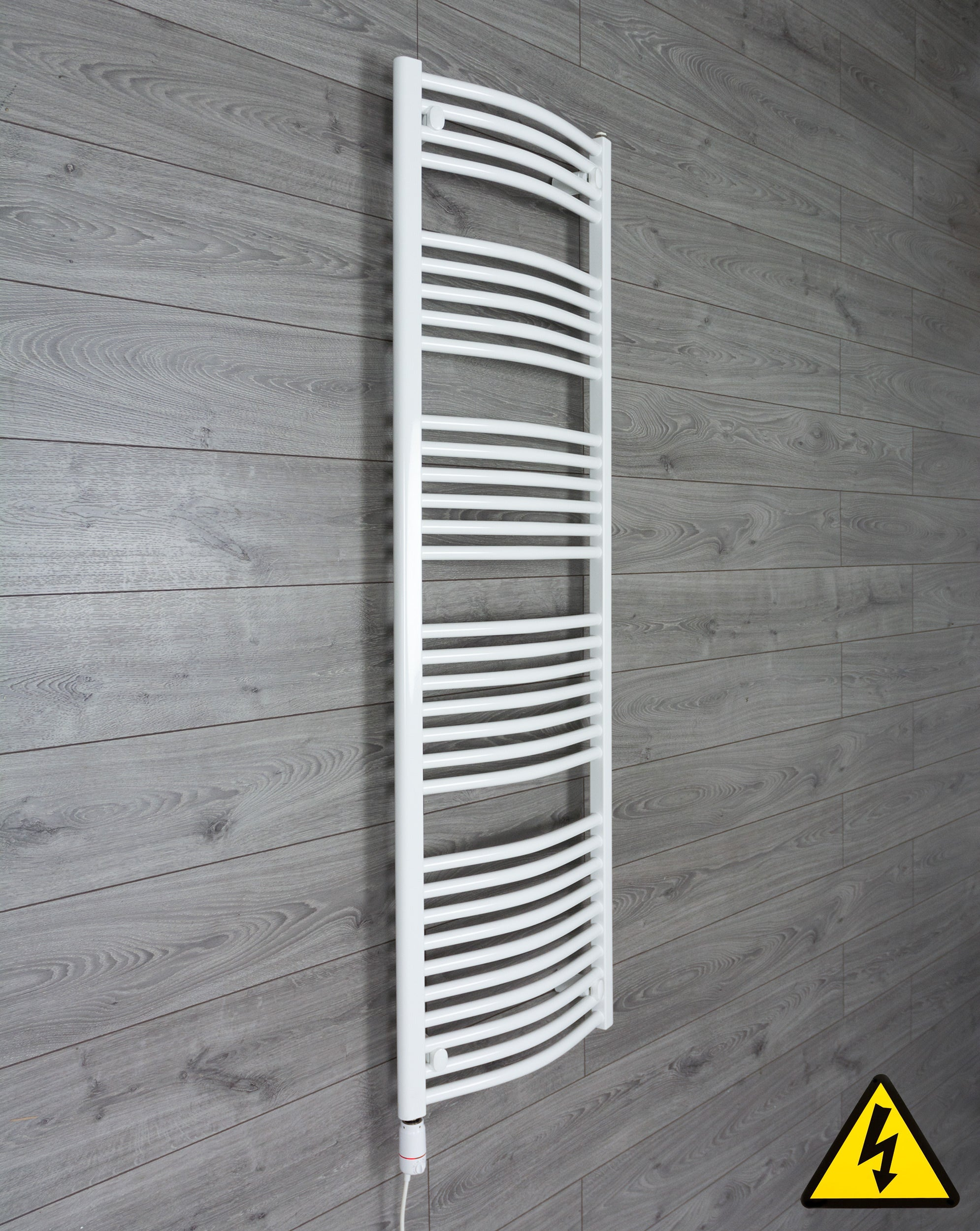1600 mm High 500 mm Wide Heated Curved Towel Rail Radiator White Central heating or Electric thermostatic