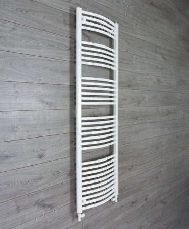 1600 mm High 500 mm Wide Heated Curved Towel Rail Radiator White Central heating or Electric straight valves