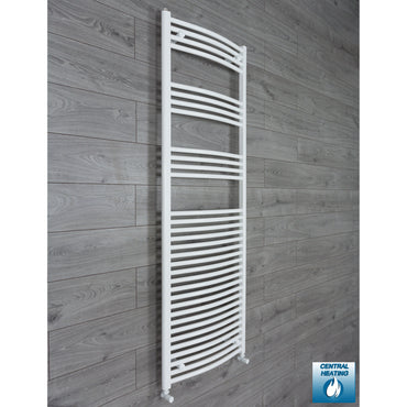 1800 mm High 600 mm Wide Heated Curved Towel Rail Radiator White Central heating angled valves conection