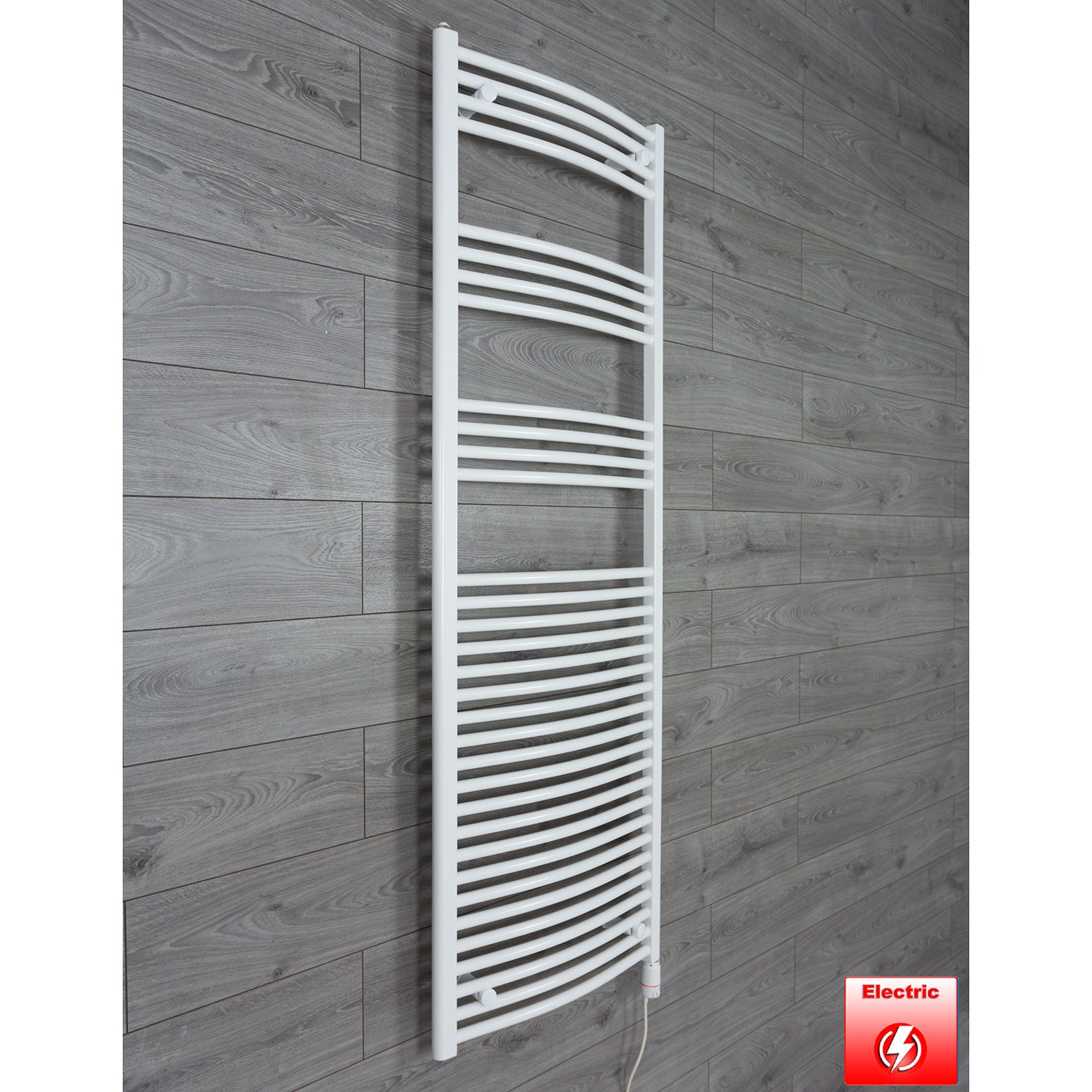 1800 mm High 600 mm Wide Heated Curved Towel Rail Radiator White prefilled thermostatic  Electric
