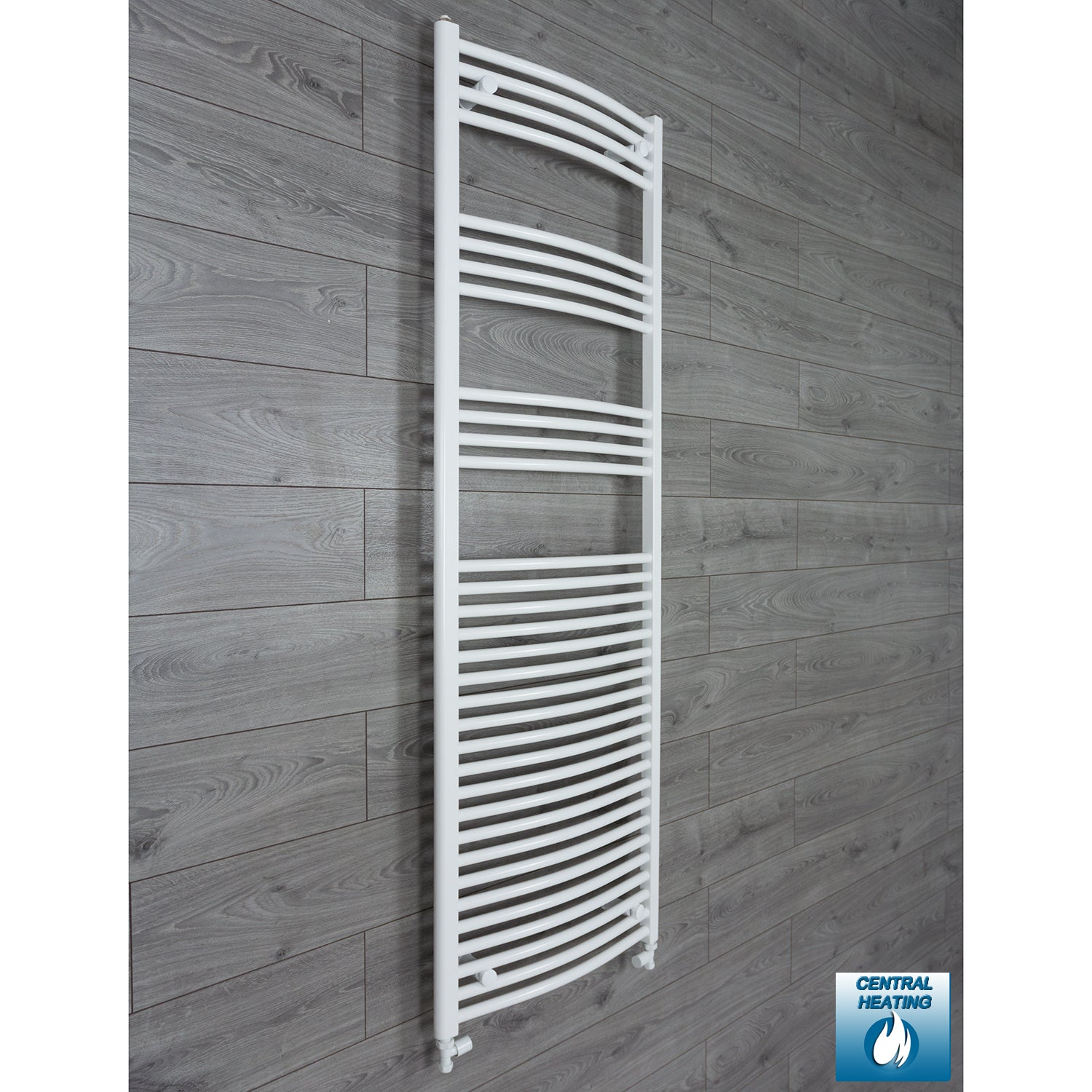 1800 mm High 600 mm Wide Heated Curved Towel Rail Radiator White Central heating straight valves connection