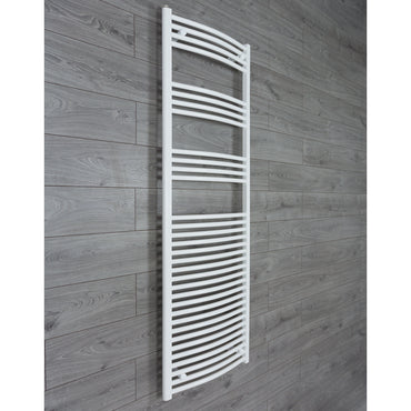 1800 mm High 600 mm Wide Heated Curved Towel Rail Radiator White Central heating or Electric