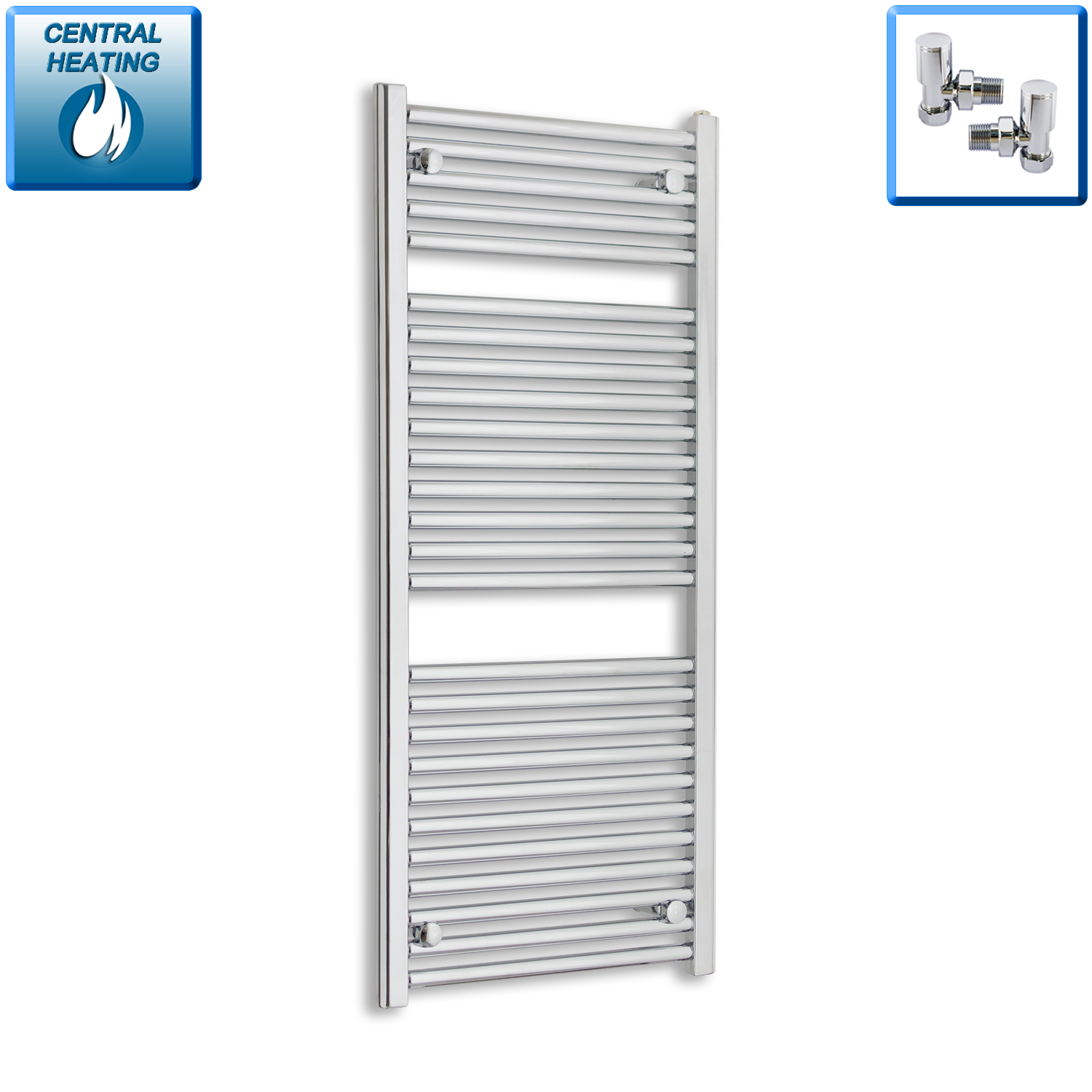 500mm Wide 120mm High Chrome Towel Rail Radiator With Angled Valve