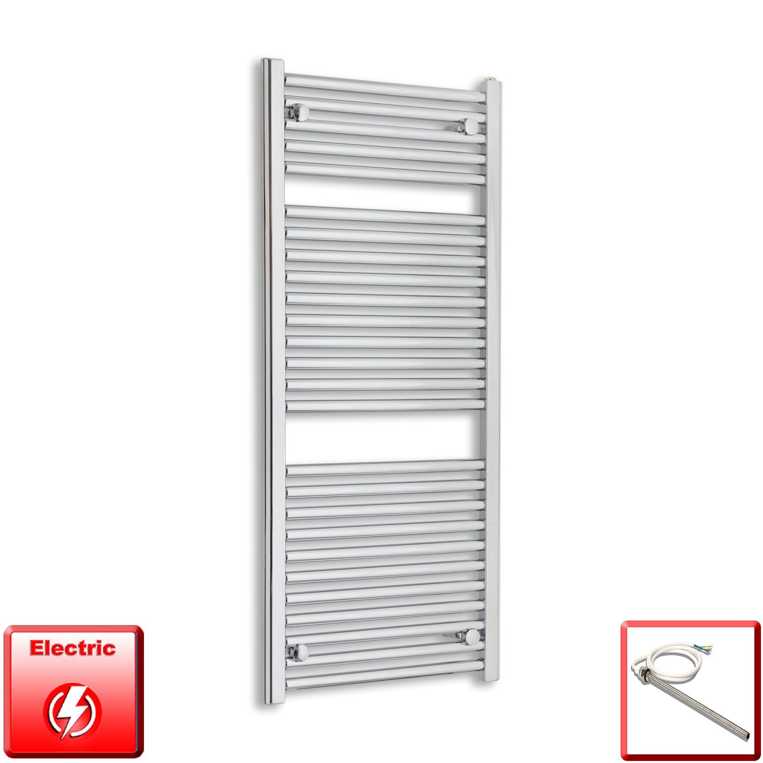 1185 mm High 500 mm Wide Heated Flat Towel Rail Radiator Chrome