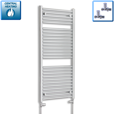 500mm Wide 120mm High Chrome Towel Rail Radiator With Straight Valve
