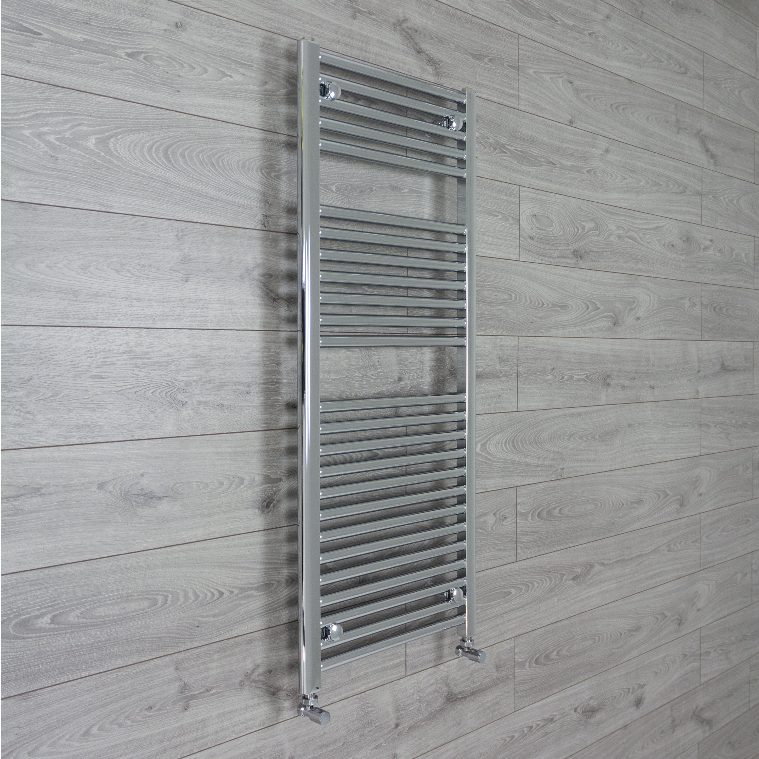 500mm Wide 1200mm High Chrome Towel Rail Radiator With Angled Valve