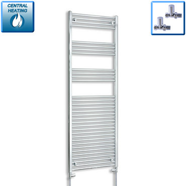 500mm Wide 1800mm High Chrome Towel Rail Radiator With Straight Valve
