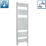 600mm Wide 1800mm High Chrome Towel Rail Radiator With Straight Valve