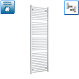 550mm Wide 1750mm High Chrome Towel Rail Radiator With Angled Valve