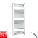 600mm Wide 1500mm High Pre-Filled Chrome Electric Towel Rail Radiator With Thermostatic GT Element