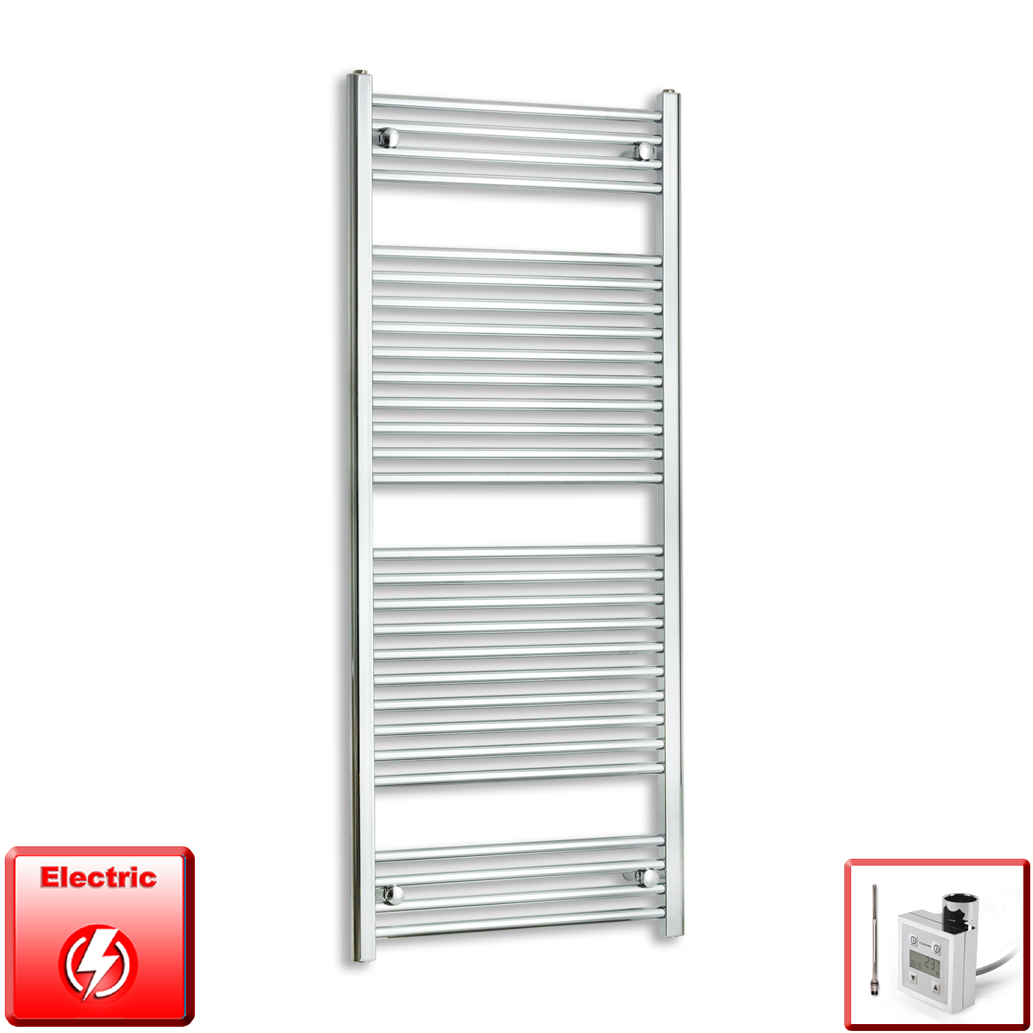 600mm Wide 1500mm High Pre-Filled Chrome Electric Towel Rail Radiator With Thermostatic KTX3 Element