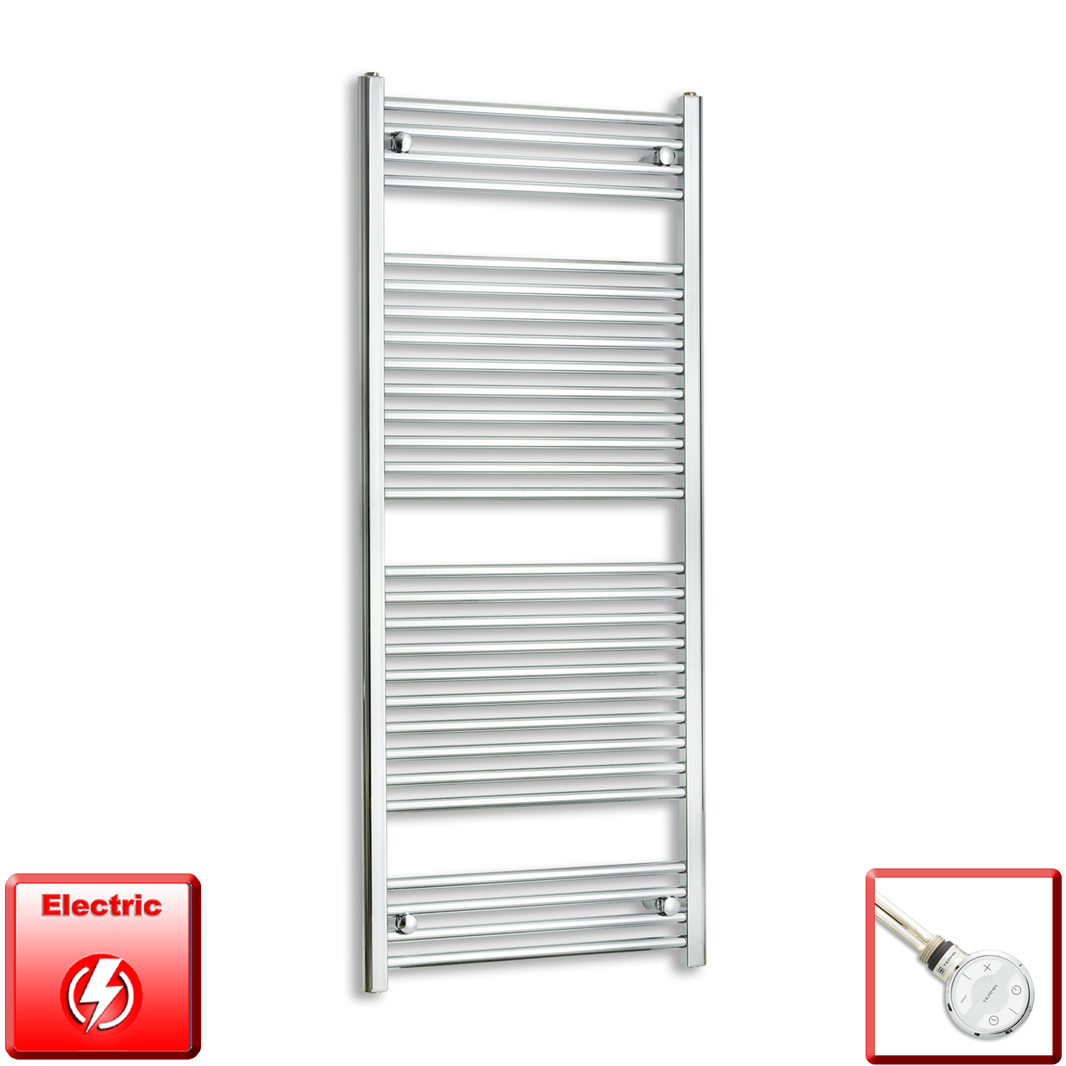 600mm Wide 1500mm High Pre-Filled Chrome Electric Towel Rail Radiator With Thermostatic MOA Element