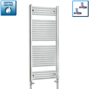 600mm Wide 1500mm High Chrome Towel Rail Radiator With Straight Valve