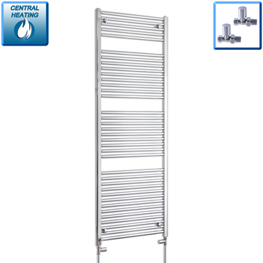 1744 mm High 600 mm Wide Heated Flat Towel Rail Radiator Chrome