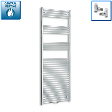 600mm Wide 1800mm High Chrome Towel Rail Radiator With Angled Valve