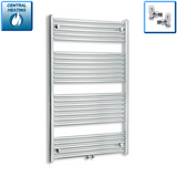 750mm Wide 1200mm High Chrome Towel Rail Radiator With Angled Valve