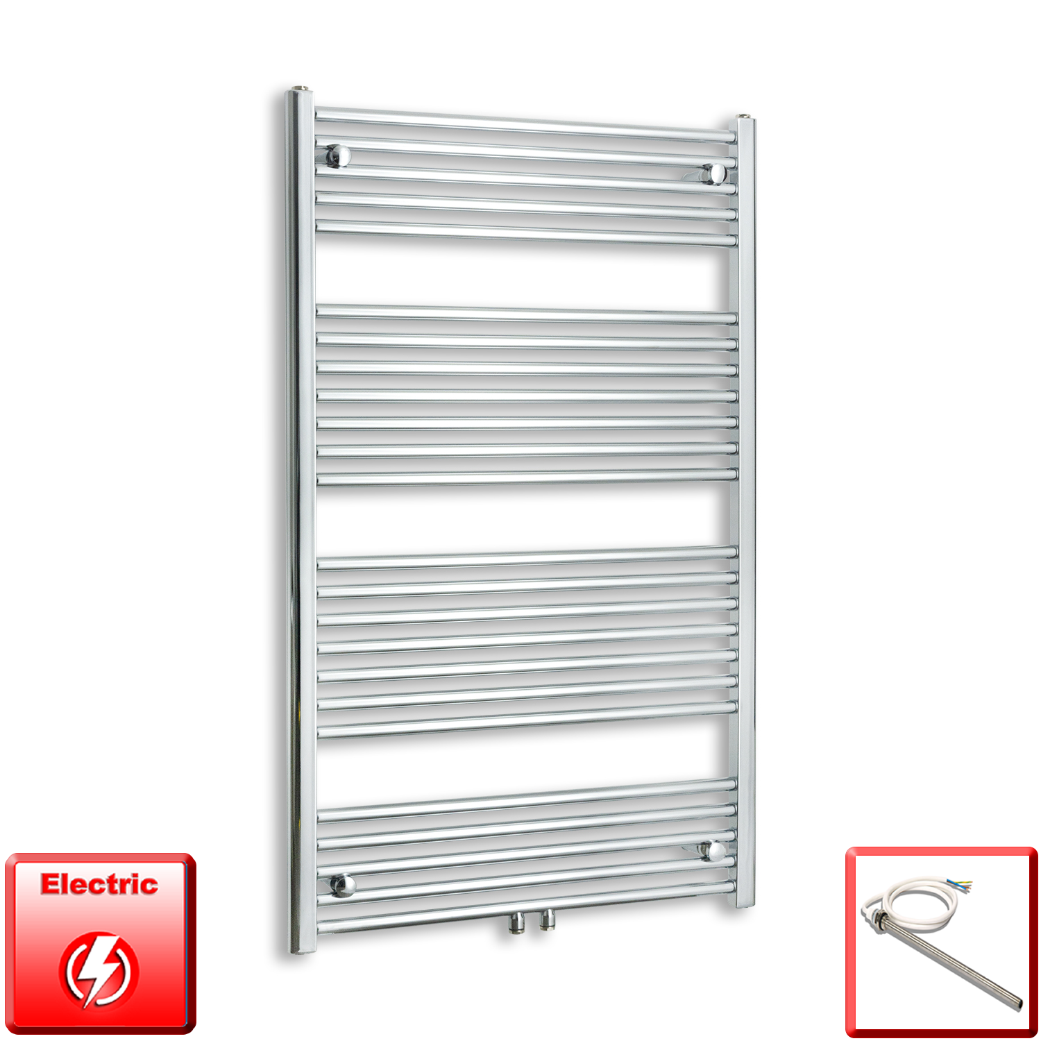 750mm Wide 1200mm High Pre-Filled Chrome Electric Towel Rail Radiator With Single Heat Element