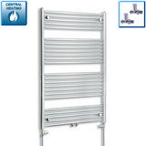 750mm Wide 1200mm High Chrome Towel Rail Radiator With Straight Valve