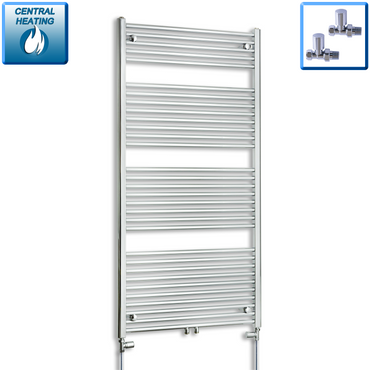 750mm Wide 1500mm High Chrome Towel Rail Radiator With Straight Valve