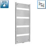 750mm Wide 1800mm High Chrome Towel Rail Radiator With Angled Valve