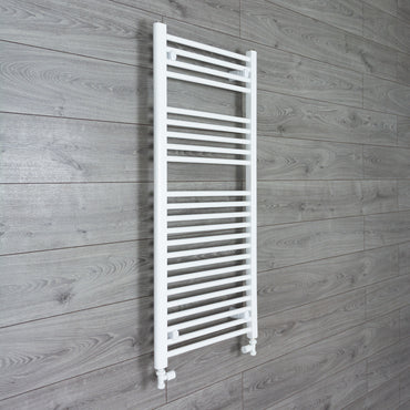1100 mm High 500 mm Wide Heated Flat Towel Rail Radiator White Central heating or Electric