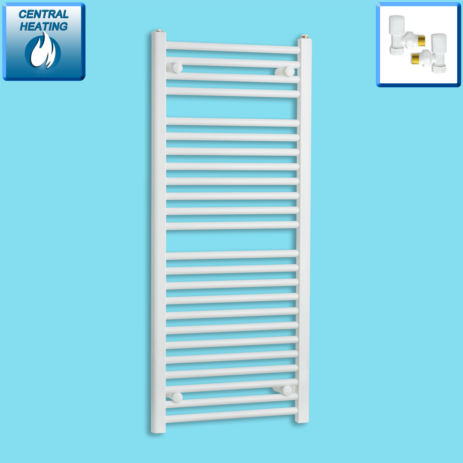 500mm Wide 1200mm High White Towel Rail Radiator With Angled Valve