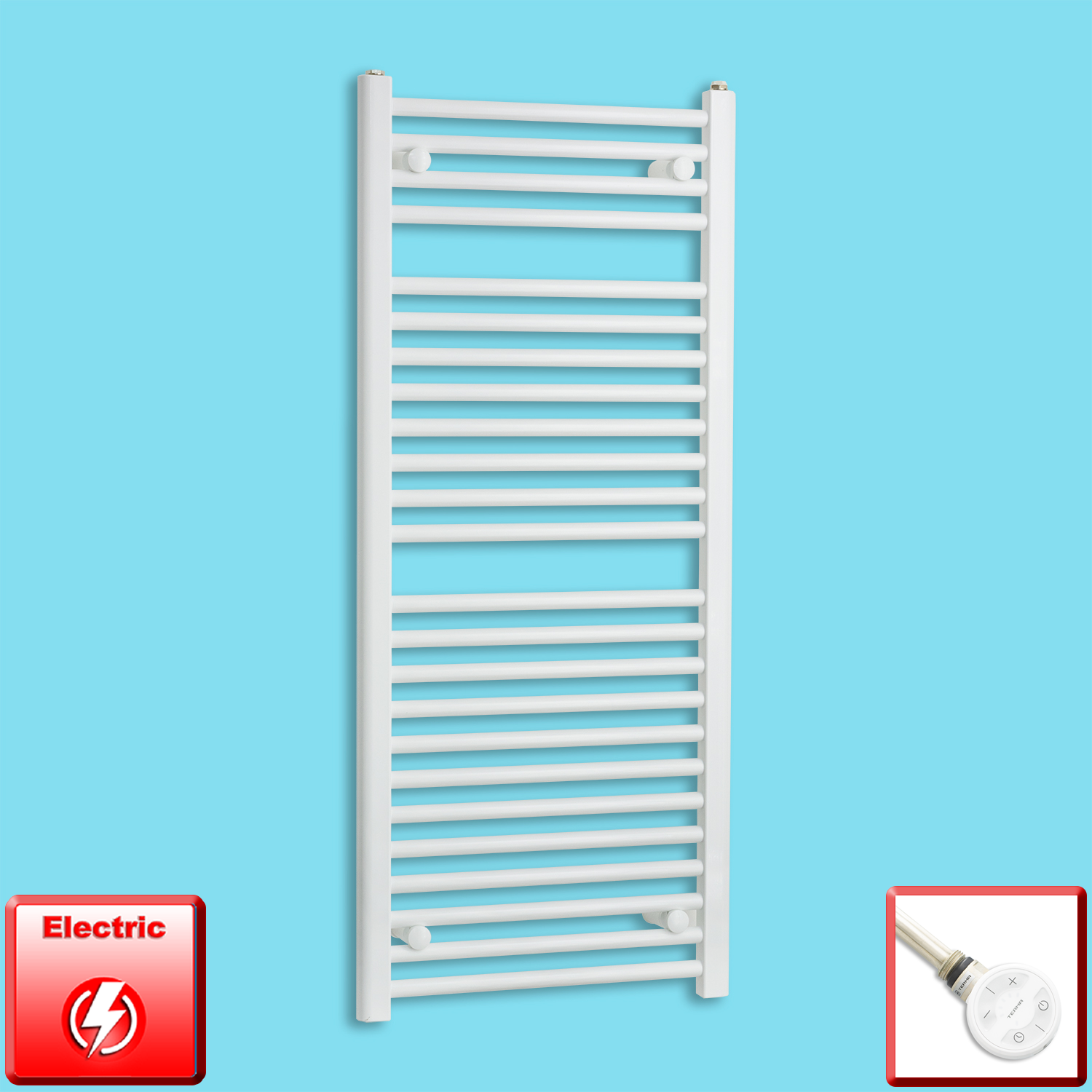 400mm Wide 1200mm High Pre-Filled White Electric Towel Rail Radiator With Thermostatic MOA Element