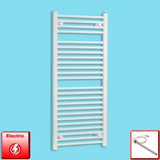 500mm Wide 1200mm High Pre-Filled White Electric Towel Rail Radiator With Single Heat Element