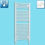 500mm Wide 1200mm High White Towel Rail Radiator With Straight Valve