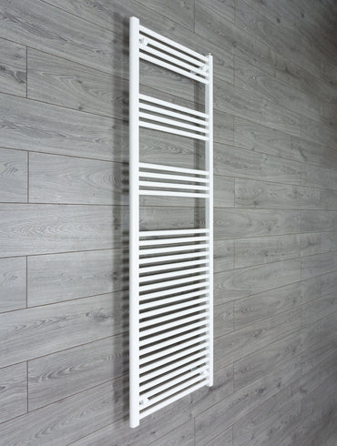 1800 mm High 600 mm Wide Heated Flat Towel Rail Radiator White Central heating or Electric
