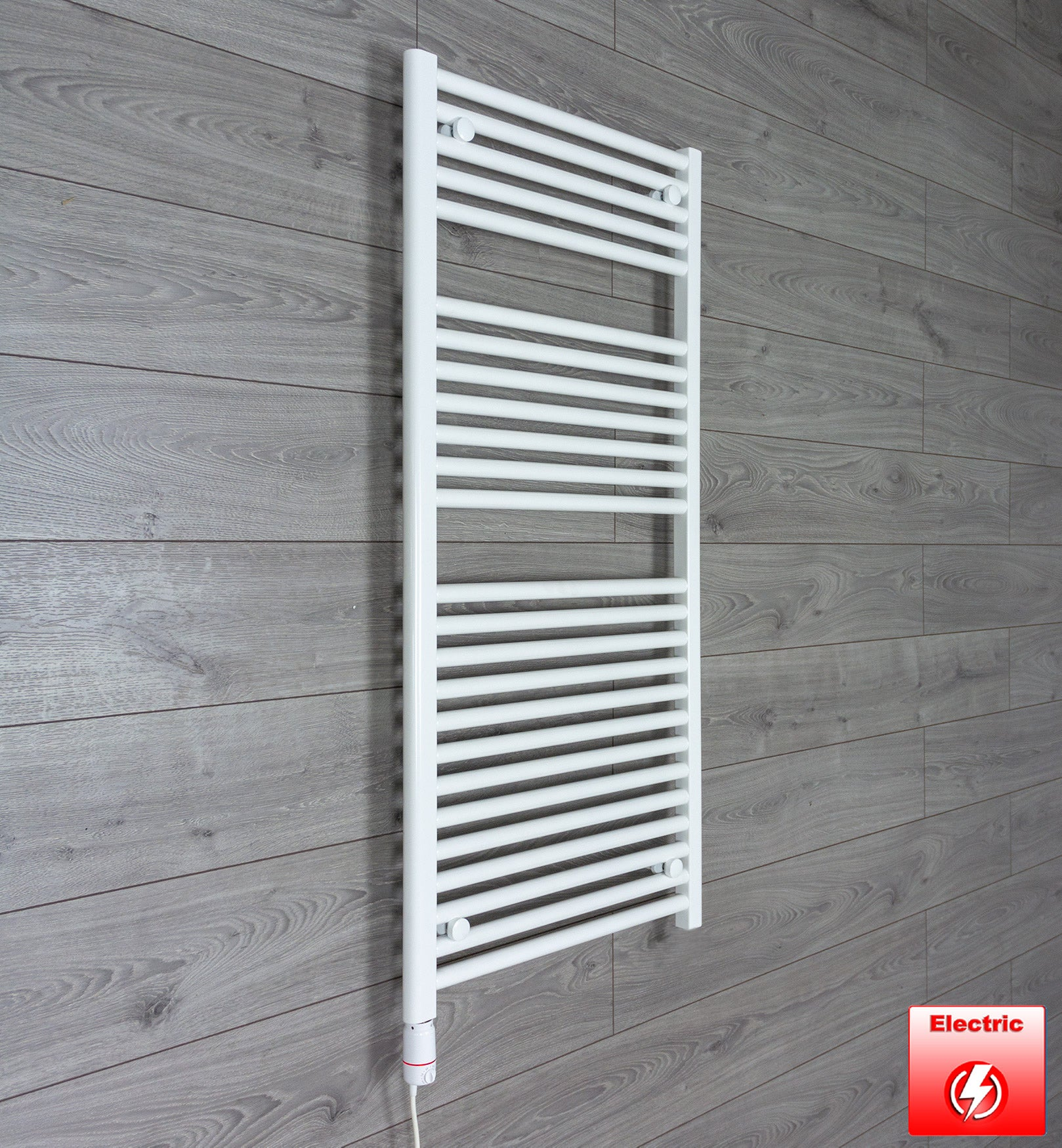 600mm Wide 1200mm High Pre-Filled White Electric Towel Rail Radiator With Thermostatic GT Element