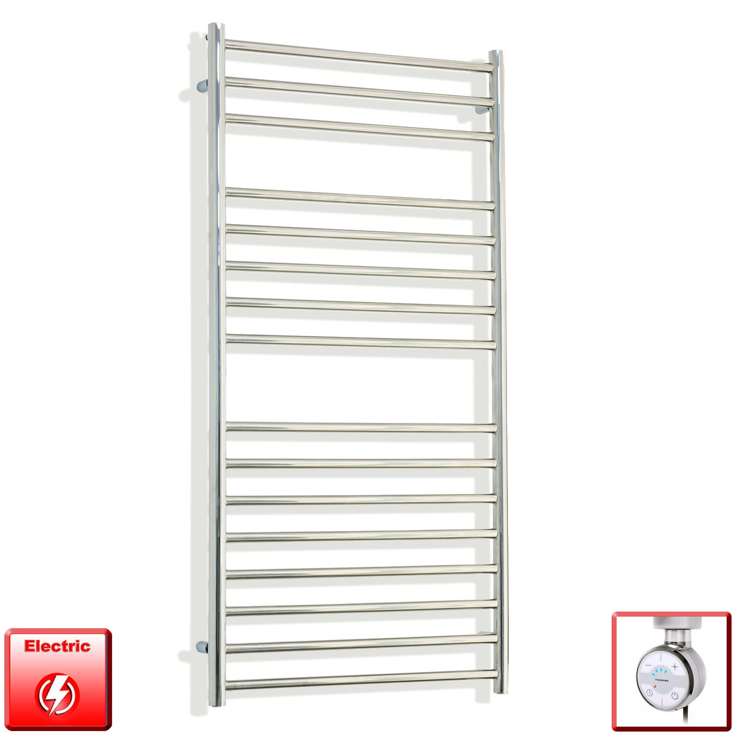 1200 mm High 600 mm Wide Pre-Filled Electric Stainless Steel Heated Towel Rail Radiator moa thermostatic heating element