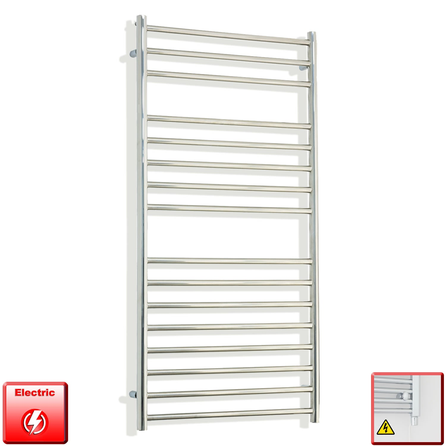 500mm Wide 1200mm High Pre-Filled Chrome Electric Towel Rail Radiator With Single Heat Element