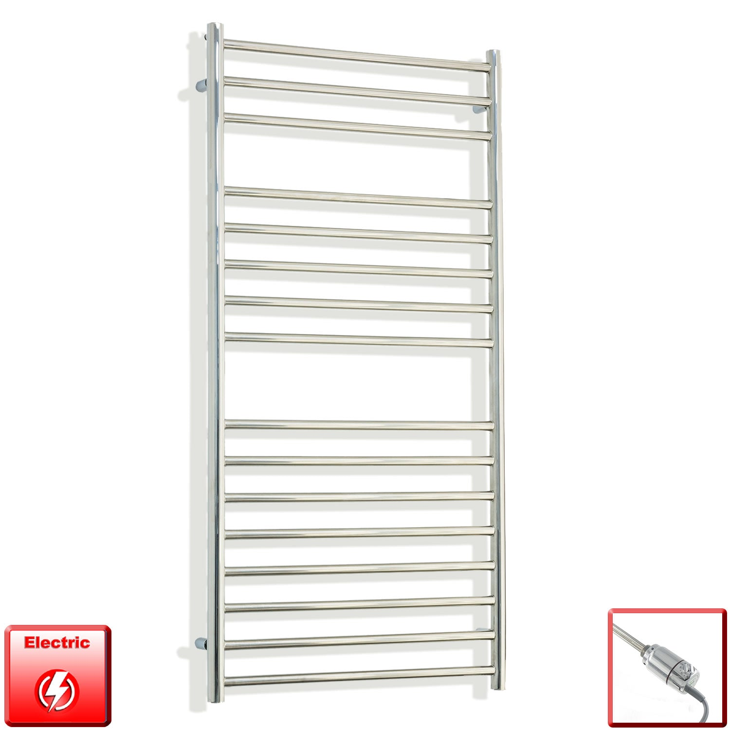 1200 mm High 600 mm Wide Pre-Filled Electric Stainless Steel Heated Towel Rail Radiator gt thermostatic heating element