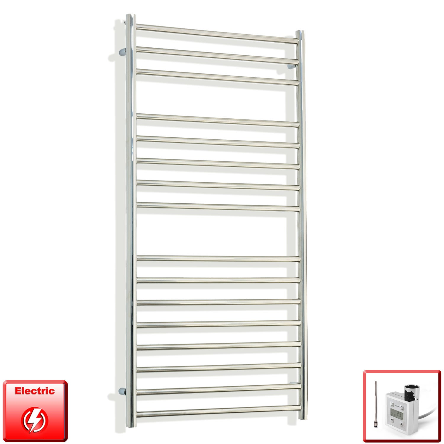 1200 mm High 600 mm Wide Pre-Filled Electric Stainless Steel Heated Towel Rail Radiator ktx3 thermostatic heating element