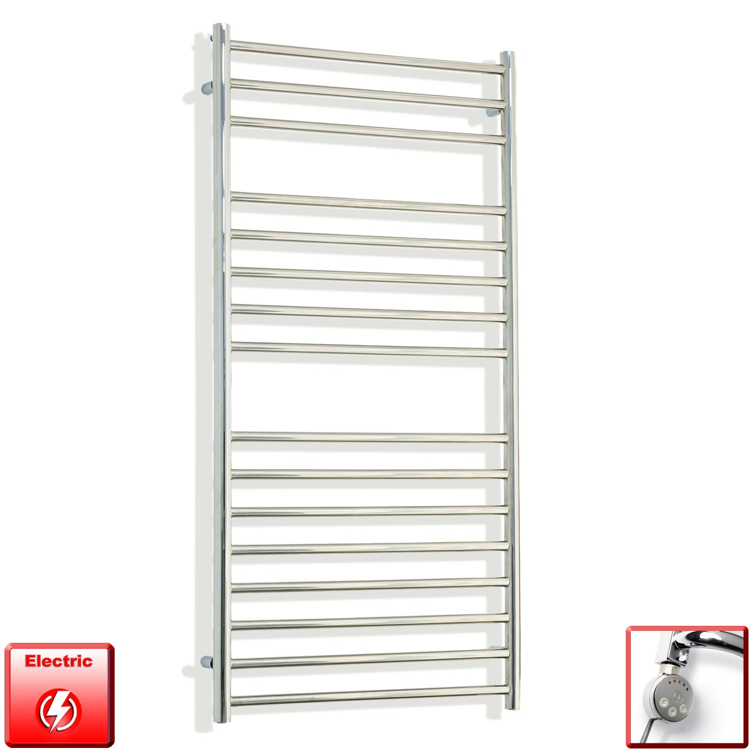 1200 mm High 600 mm Wide Pre-Filled Electric Stainless Steel Heated Towel Rail Radiator meg thermostatic heating element