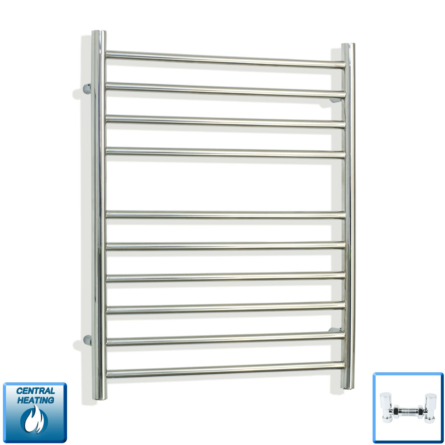 750 x 500 stainless steel towel rail radiator with angled valves pipes out of the wall