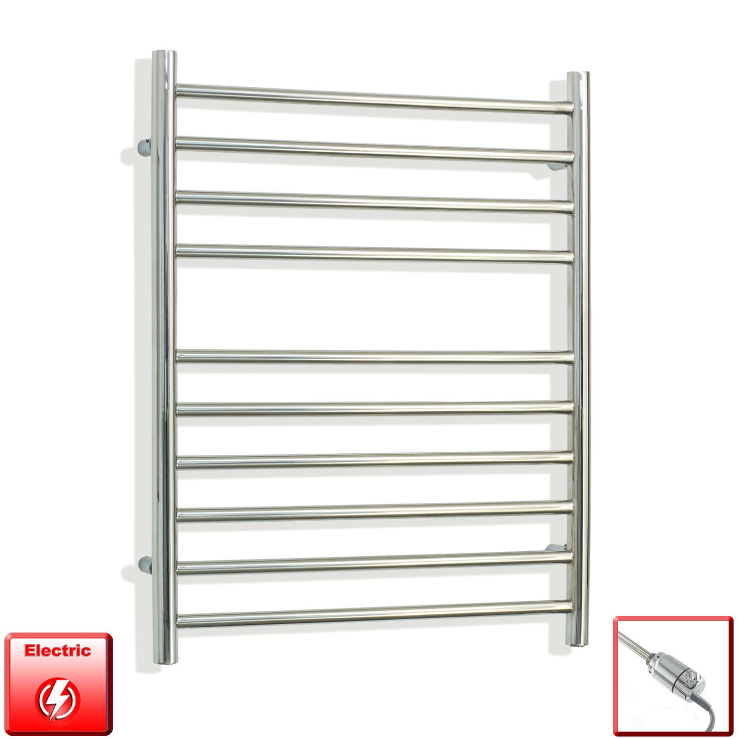 750 mm High 600 mm Wide Pre-Filled Electric Stainless Steel Heated Towel Rail Radiator with gt thermostatic element