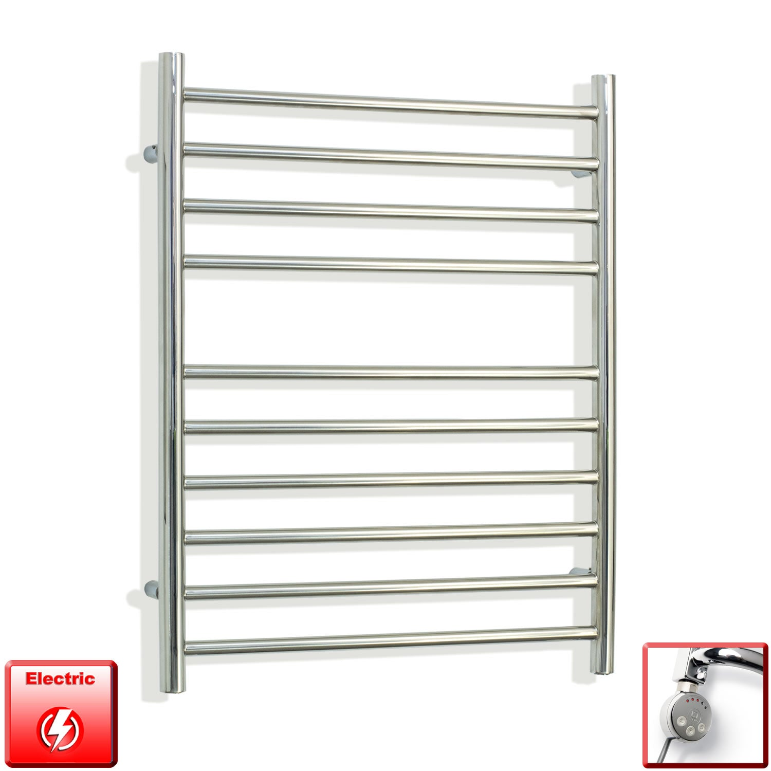750 mm High 600 mm Wide Pre-Filled Electric Stainless Steel Heated Towel Rail Radiator meg thermostatic heating element