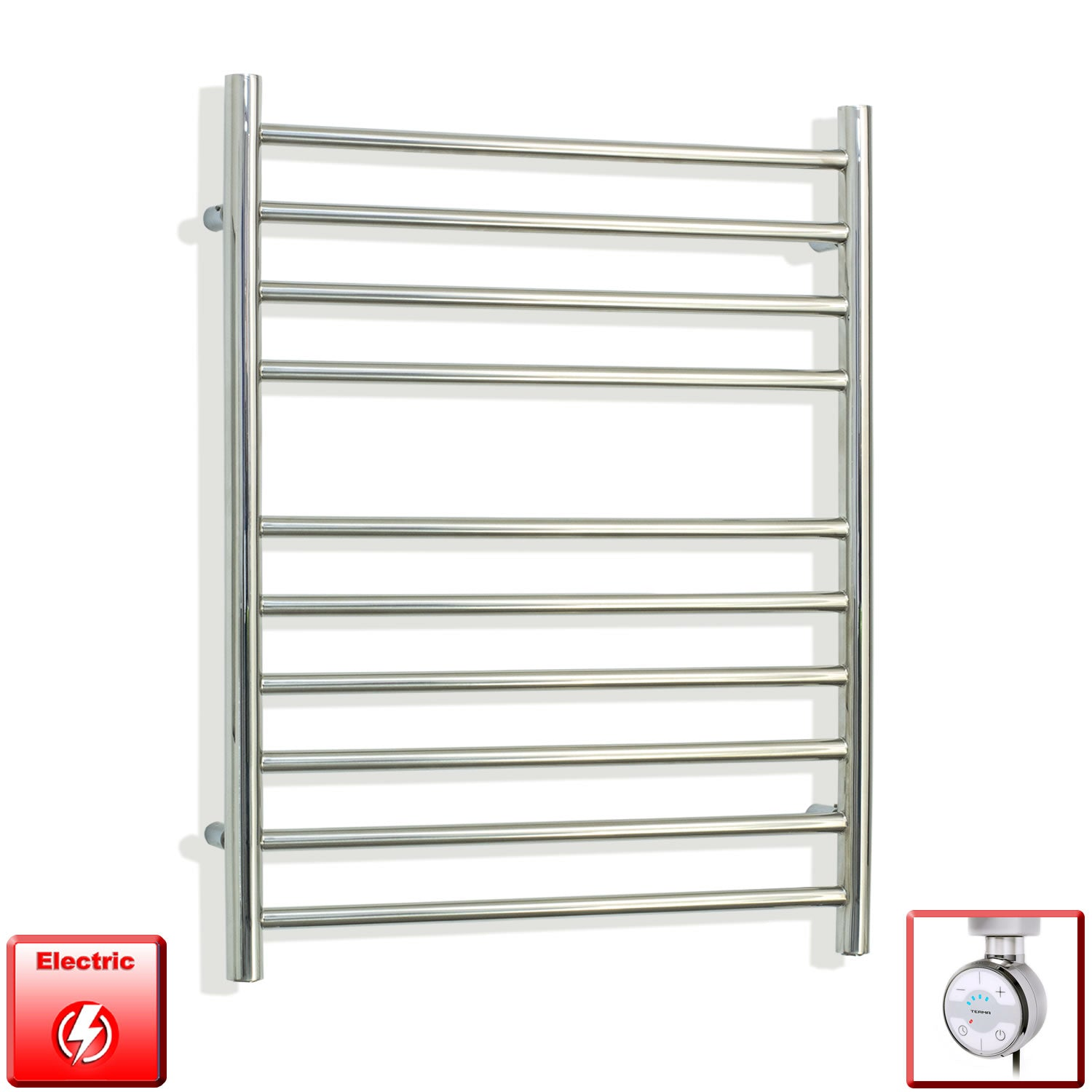 750 mm High 500 mm Wide Pre-Filled Electric Stainless Steel Heated Towel Rail Radiator Moa thermostatic heating element