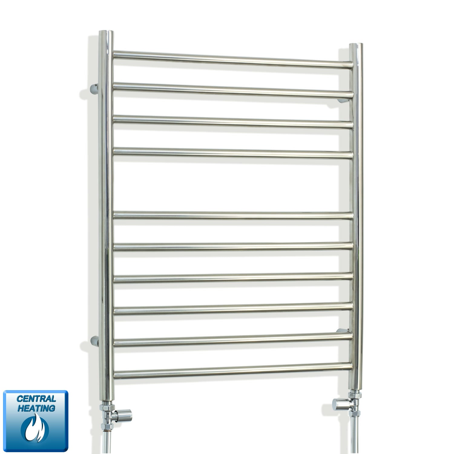 750 x 600 stainless steel towel rail radiator with straight inline valves pipes out of the floor