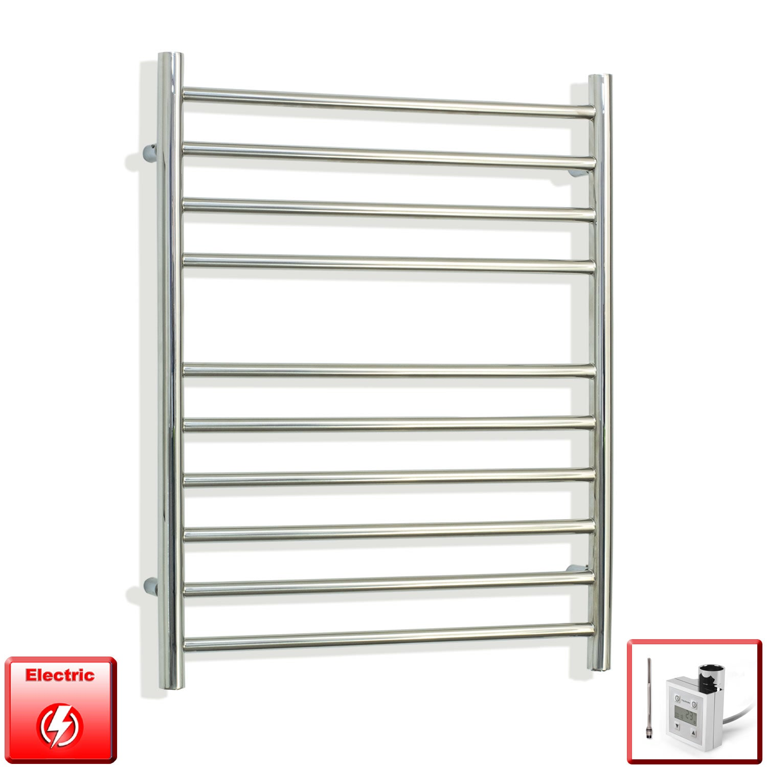 750 mm High 500 mm Wide Pre-Filled Electric Stainless Steel Heated Towel Rail Radiator ktx3 programmable thermostatic heating element