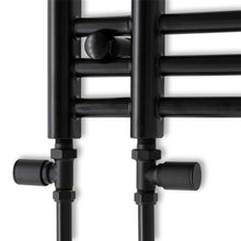 Load image into Gallery viewer, 500mm Wide 900mm High Black Towel Rail Radiator With Straight Valve
