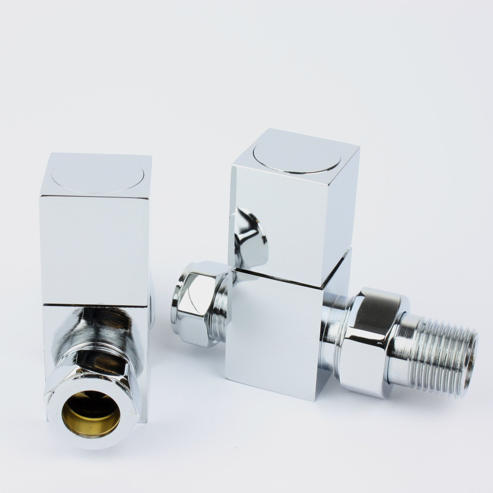 Chrome Plated Square Straight Valve for Heated Towel Rail Radiator - Elegant Radiators