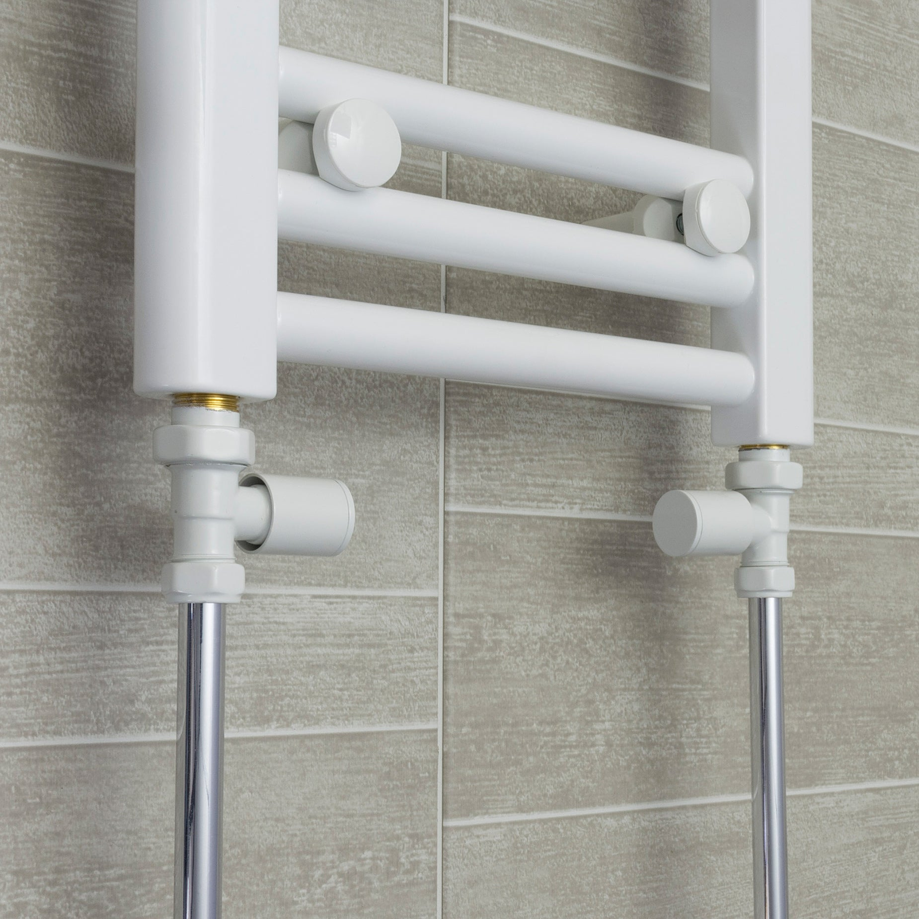 700mm Wide 1500mm High White Towel Rail Radiator With Straight Valve