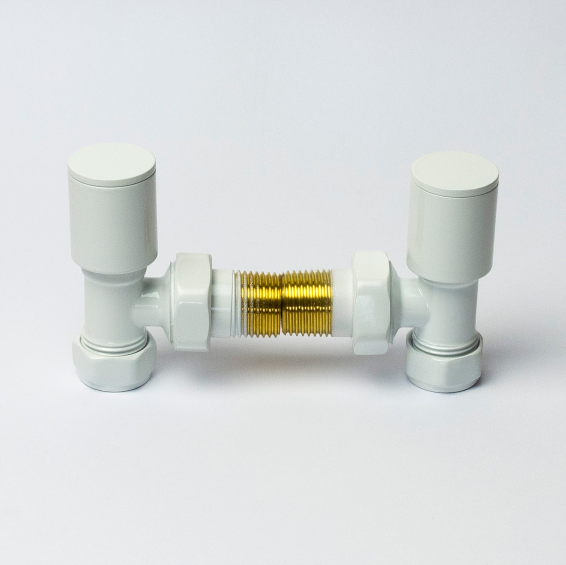 White Manual Towel Rail Angled Valves For Dual Fuel Towel Rail